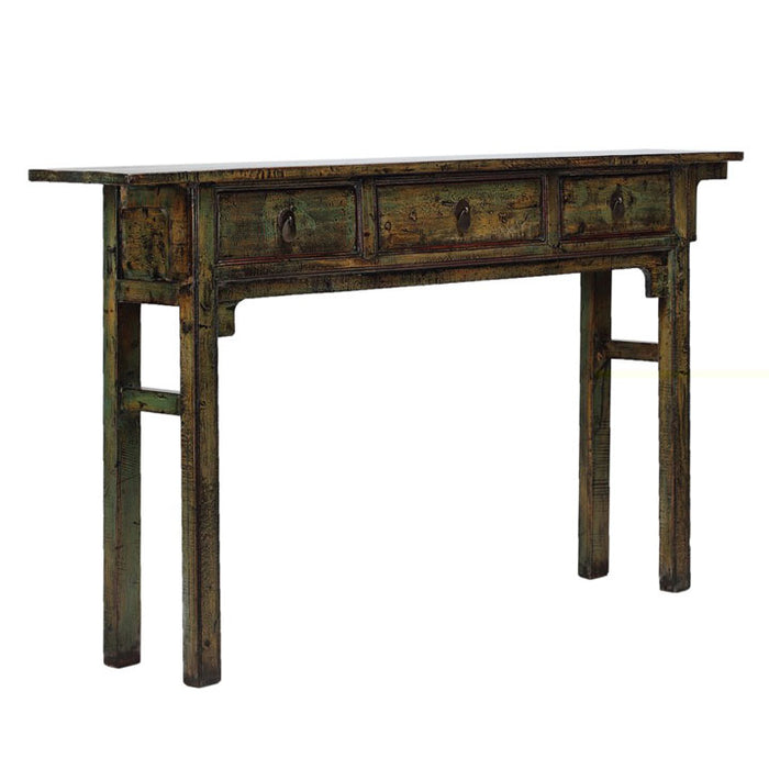 Green Three Drawer Console Table