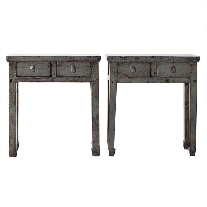 Pair of Two Drawer Grey Tables