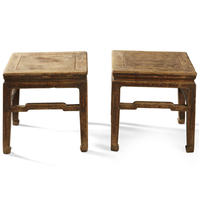 Pair of Square Elm Stools