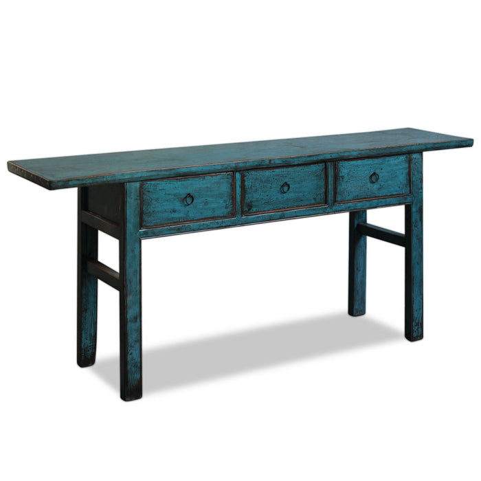 Blue Lacquer Chinese Three Drawer Console Table