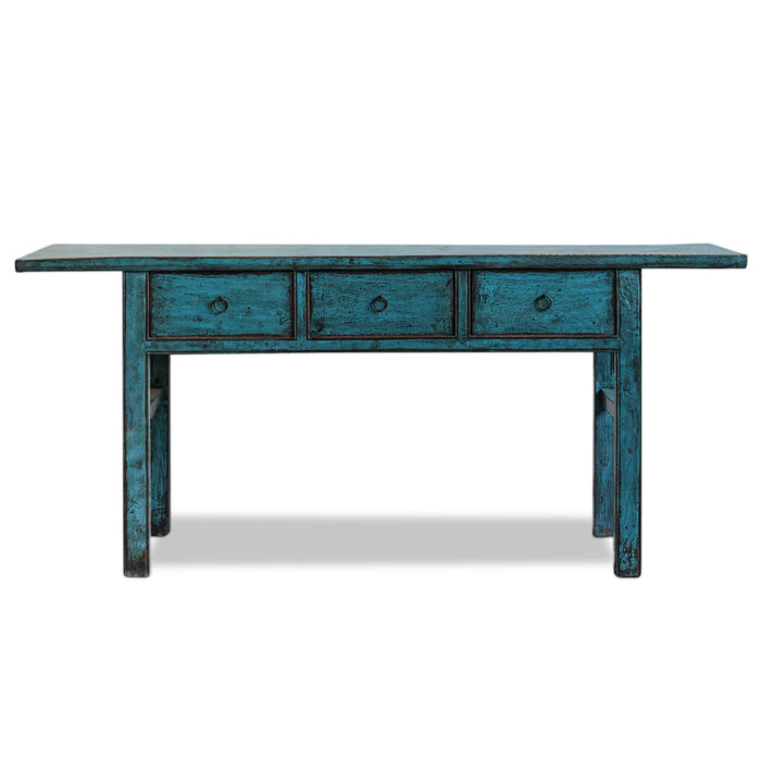 Blue Lacquer Chinese Three Drawer Console