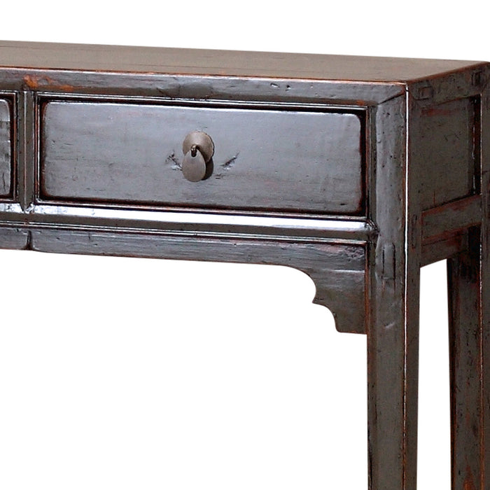 Grey Two Drawer Chinese Console Table