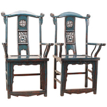 Pair of Carved Blue Lacquer Armchairs