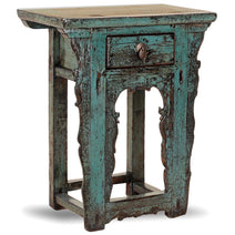 Blue Carved Oriental Side Table
