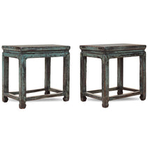 Pair of Blue Lacquer Stools