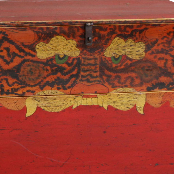 Pair of Antique Painted Tiger Trunks