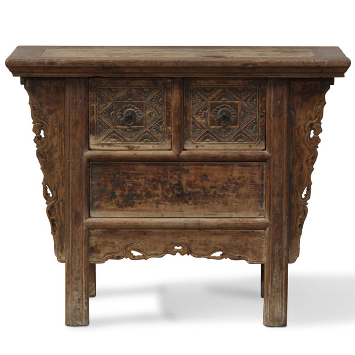 Three Drawer Carved Coffer