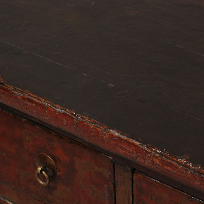 Red Lacquer Four Drawer Coffer