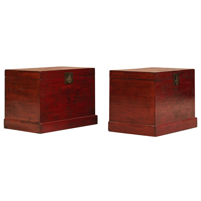Pair of Red and Gold Painted Chests