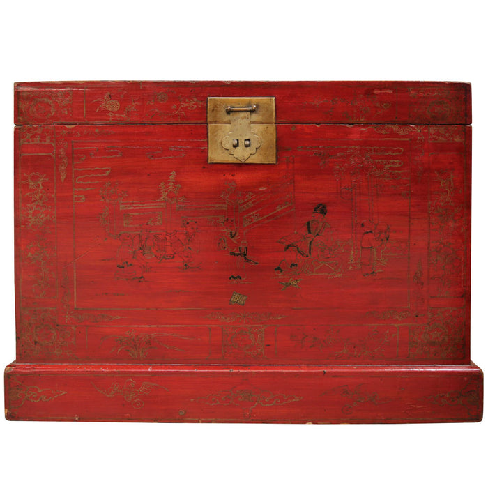 Red and Gold Painted Chinese Chests