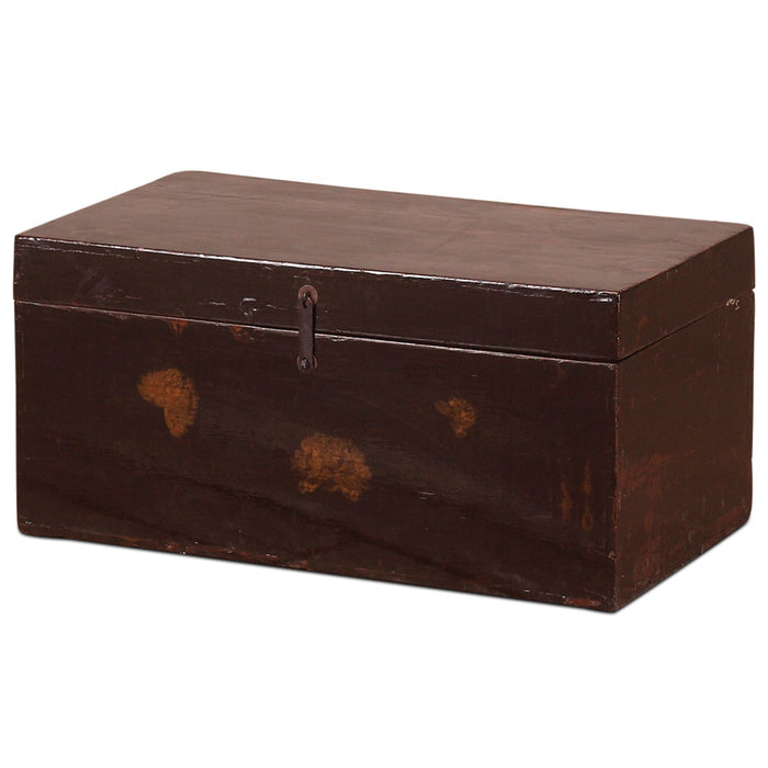 Painted Black Lacquer Chinese Antique Blanket Box