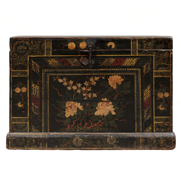 Black Lacquer Chinese Painted Chest