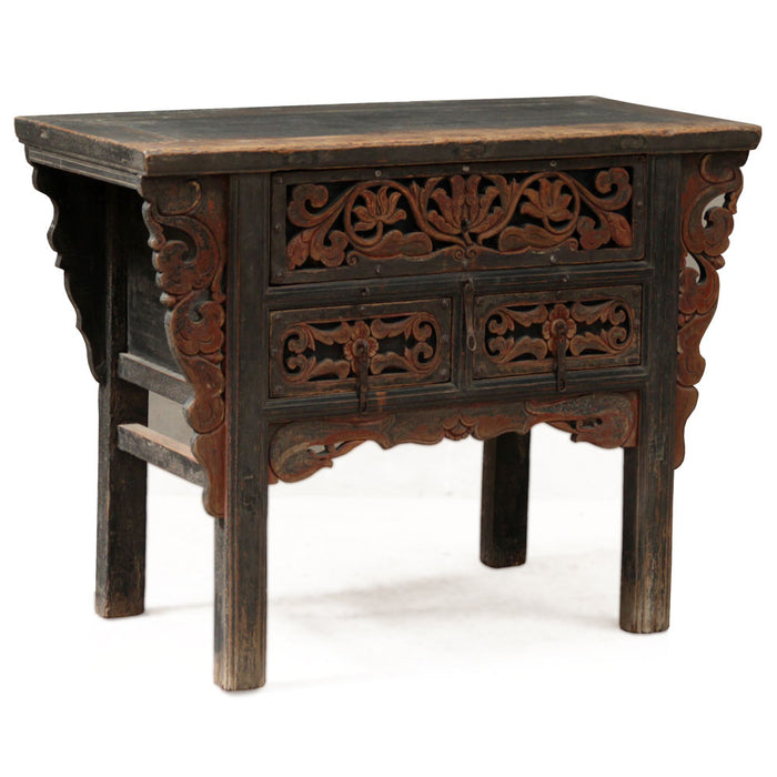 Carved Shaanxi Three Drawer Coffer