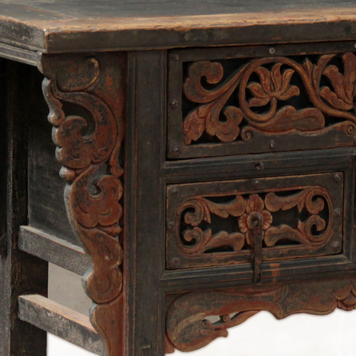 Carved Antique Chinese Three Drawer Coffer