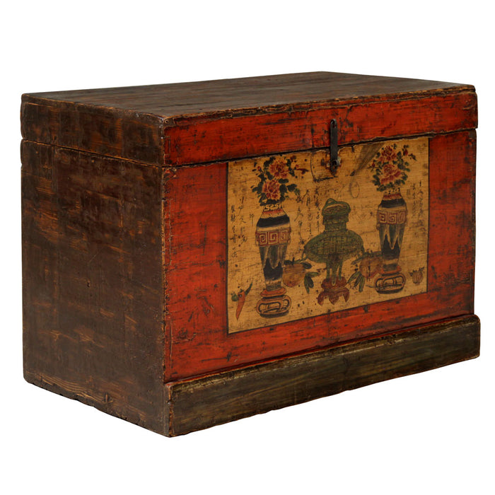 Painted Red Lacquer Blanket Trunk