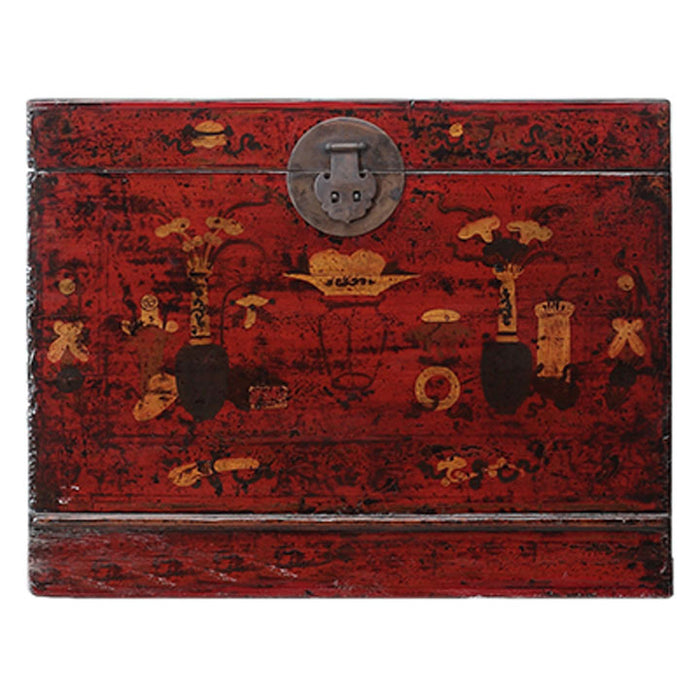 Gansu Trunk with Vases and Flowers