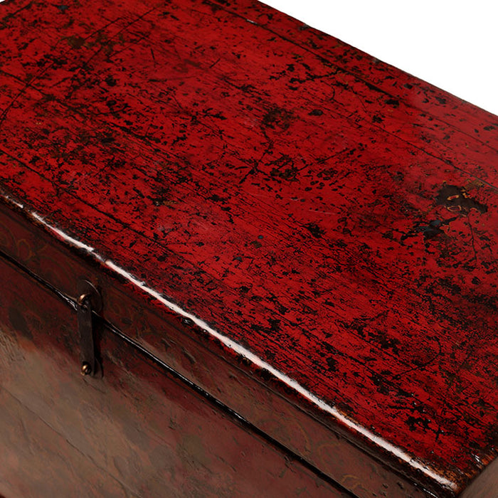 Floral Red Painted Chinese Chest