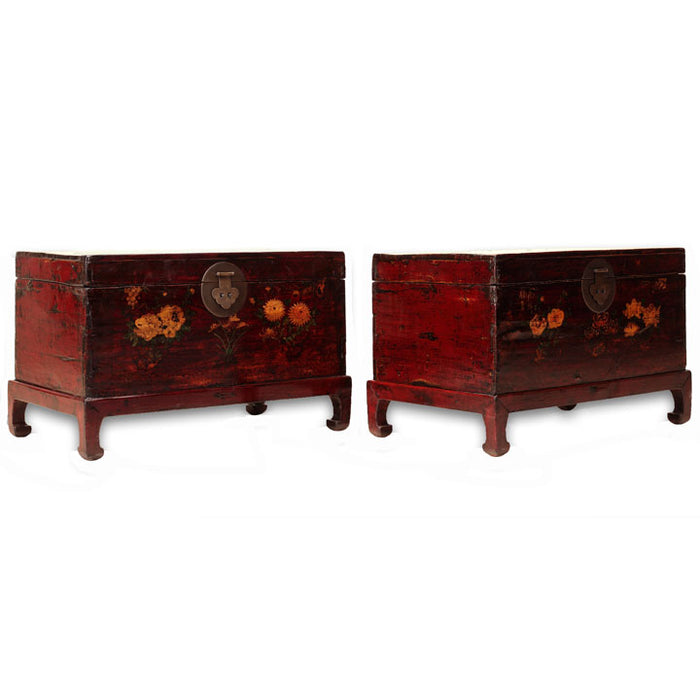 Pair of Painted Trunks with Stands