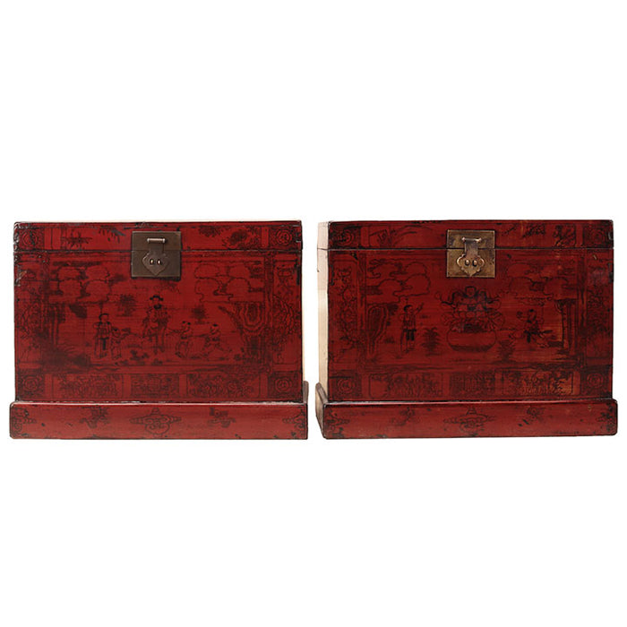 Pair of Painted Antique Trunks