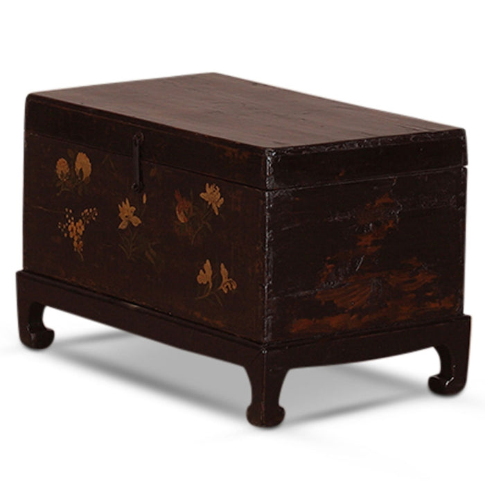 Chinese Panted Black Blanket Chest on Stand