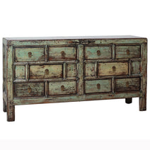 Distressed Green Lacquer Multidrawer Chest