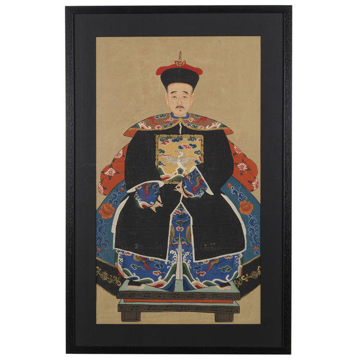 Chinese Ancestor Painting, Grandfather Official in Black
