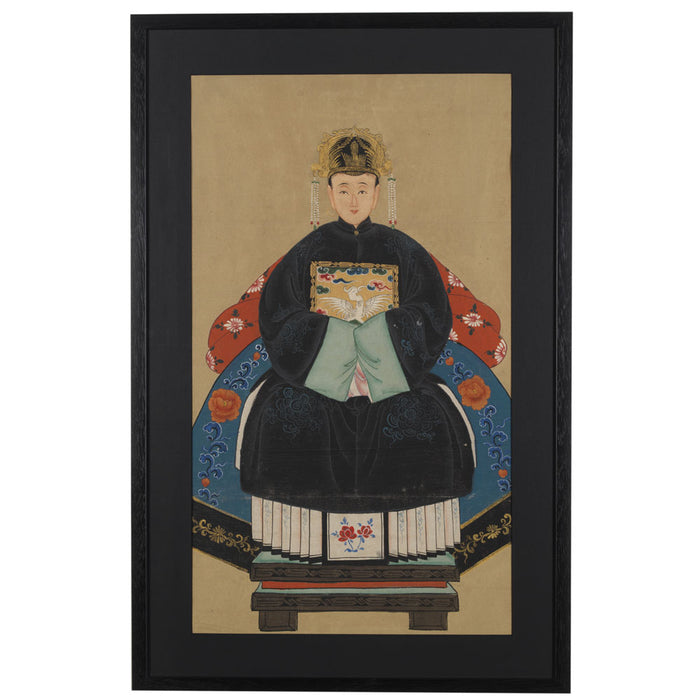 Chinese Ancestor Painting, Grandmother Official in Black