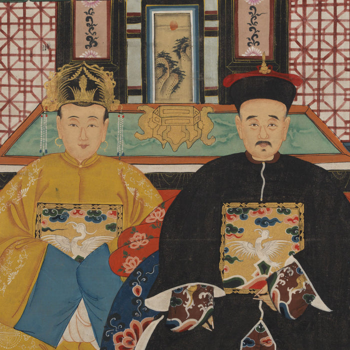 Chinese Ancestor Painting, Couple in Yellow and Black