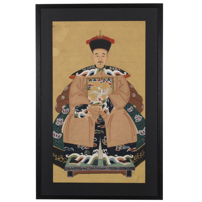 Chinese Ancestor Painting, Grandfather Official in Peach
