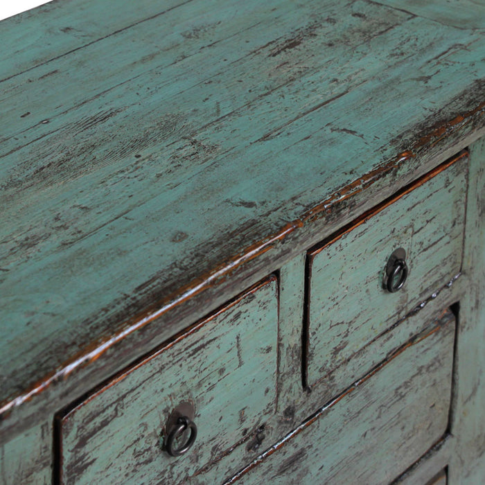 Blue Lacquer Chinese Antique Four Drawer Chest