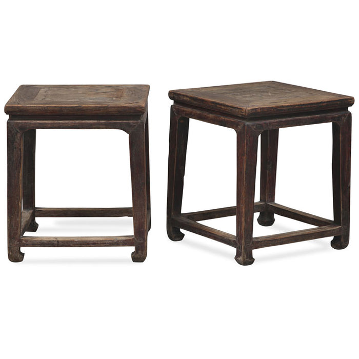 Pair of Square Stools with Footrests
