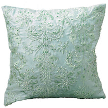 Beaded Cushion, Aqua