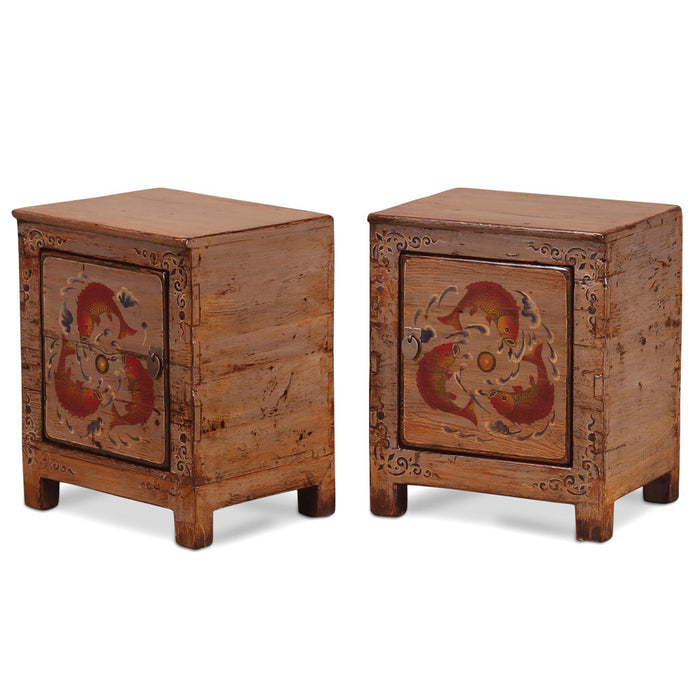 Bedside Cabinets with Fish Paintings