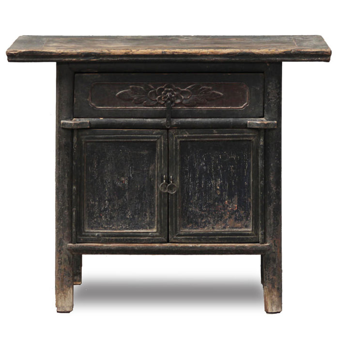 Black Lacquer Chinese Temple Cabinet