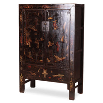 Black Lacquer Armoire with Butterflies
