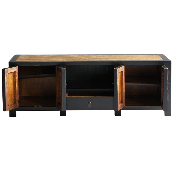 Jiang Black Lacquer Media Cabinet