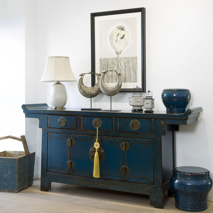 Blue Lacquer Chinese Altar Cabinet