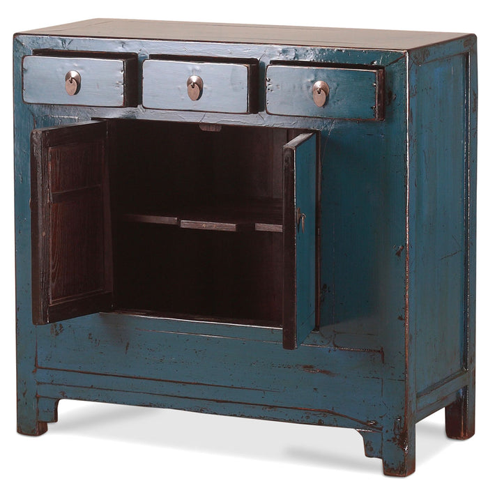 Blue Lacquer Square Side Chinese Cabinet