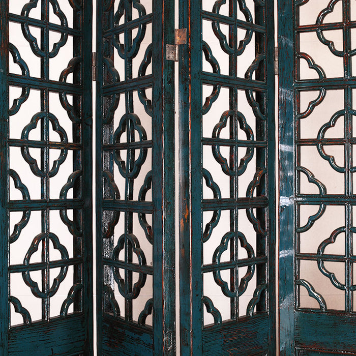 Blue Lacquer Lattice Screen