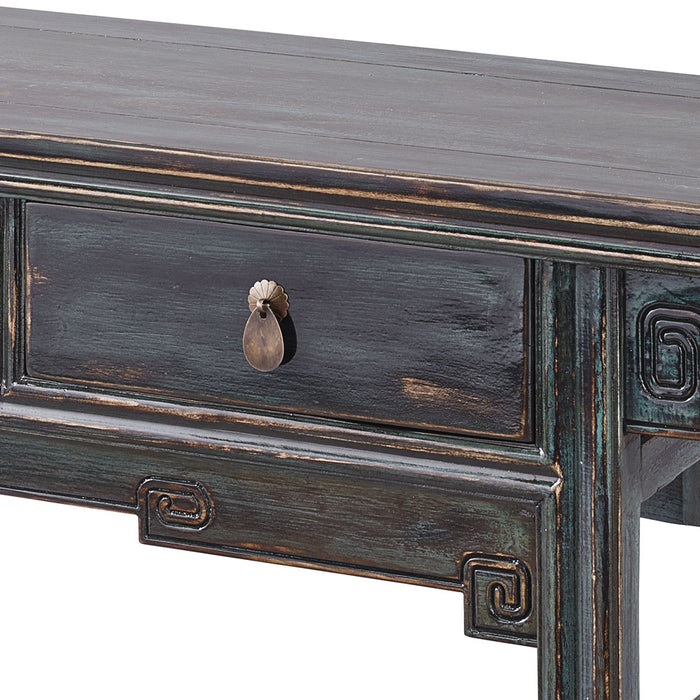 Blue Lacquer Three Drawer Console