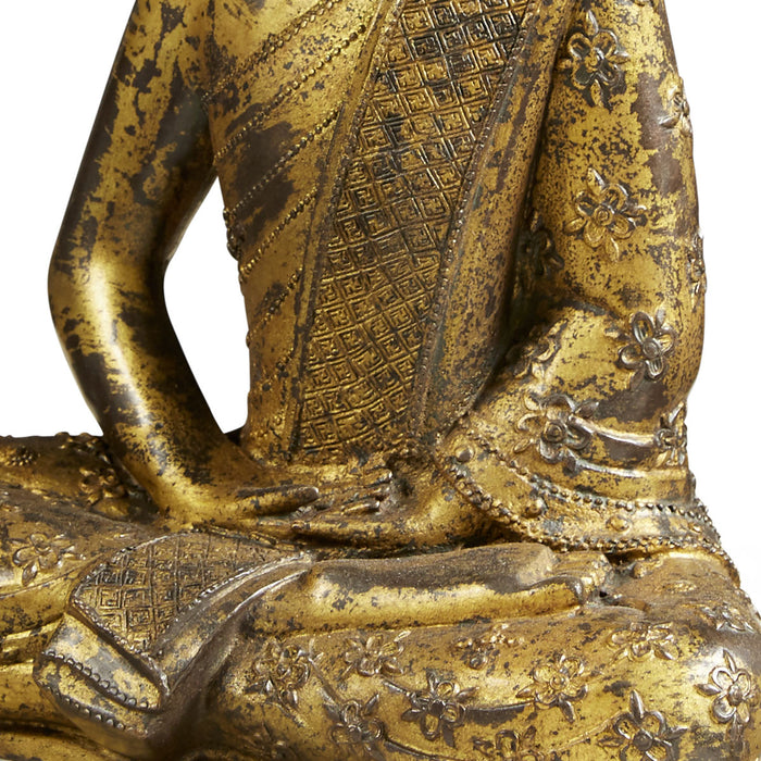 Gold Cast Seated Budda, Meditation Pose
