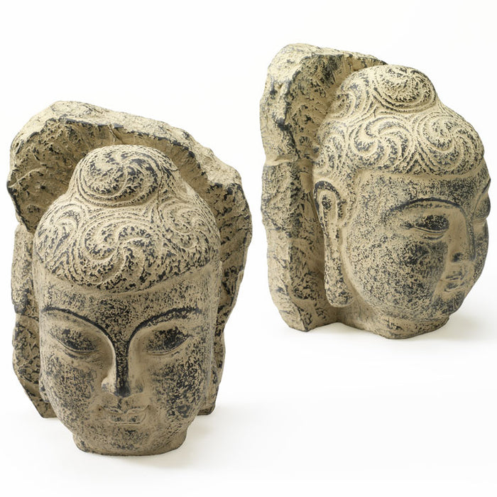 Pair of Buddha Head Bookends