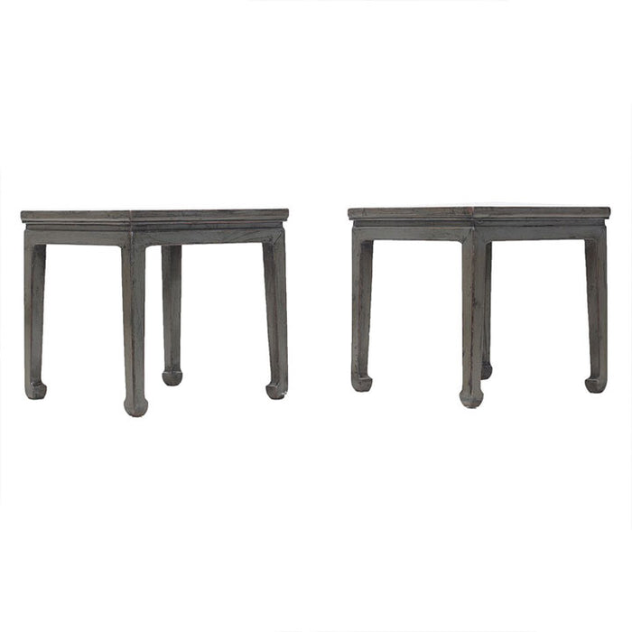 Pair of Grey Lacquer Stools