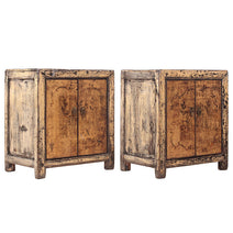 Pair of Distressed Cream Bedside Cabinets
