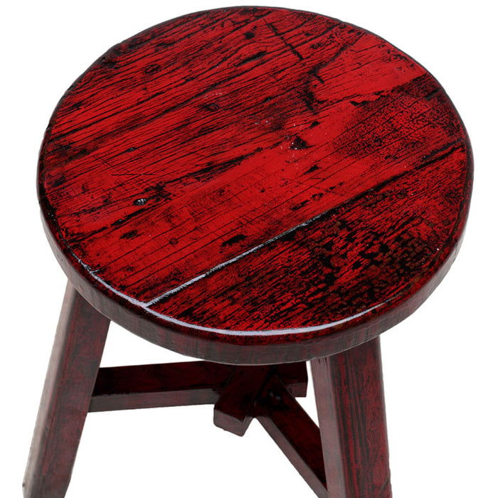 Round Stool, Red Lacquer