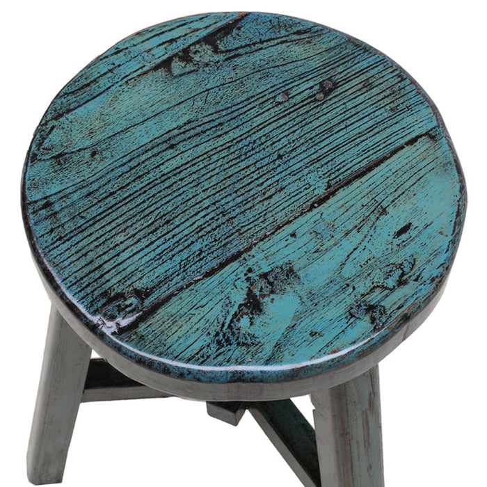 Round Stool, Blue Lacquer