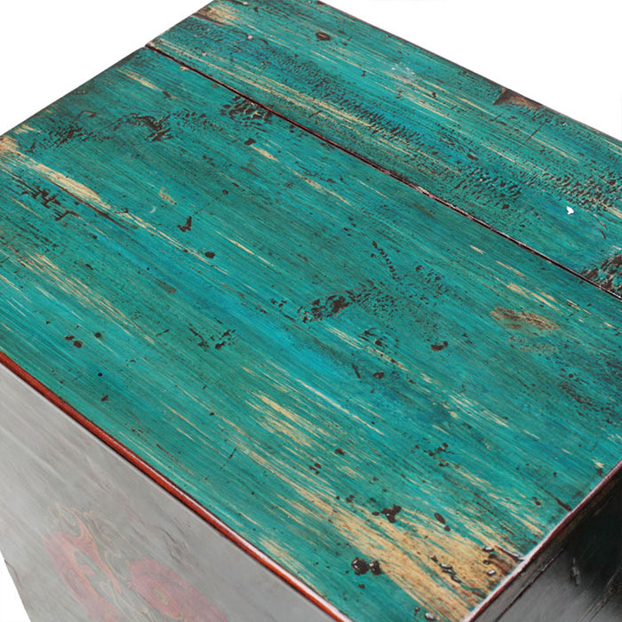 Pair of Teal Lacquer Bedside Chests