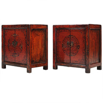 Pair of Red End Cabinets