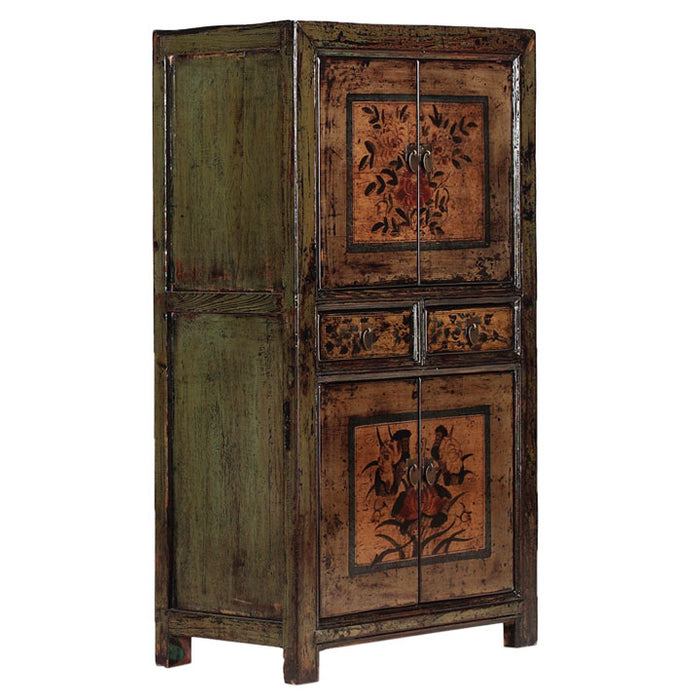 Green Lacquer Tall Double Cabinet