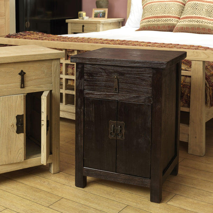 Country Solid Wood Bedside Cabinet, Chocolate